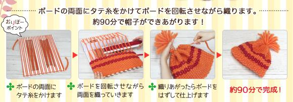 ボードの両面にタテ糸をかけてボードを回転させながら織ります。約90分で帽子ができあがります!