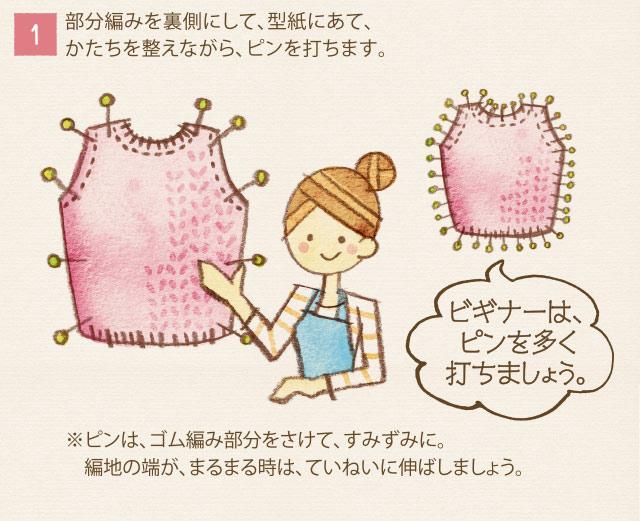 1)部分編みを裏側にして、型紙にあて、かたちを整えながら、ピンを打ちます。ビギナーはピンを多く打ちましょう。※ピンは、ゴム編み部分をさけて、すみずみに。編み時の端が、まるまる時は、ていねいに伸ばしましょう。