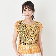 パイナップル模様の求心編みフレンチプル
