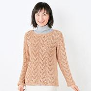 ラウンドネックの模様編みのプル